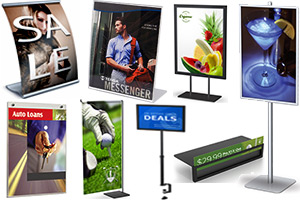 countertop sign holders, wallmount sign frames, graphic sign mounts, slatwall sign holders