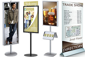 Floor Standing Sign-Holders, Graphic Mounts, Directories & Menu-Display Stands